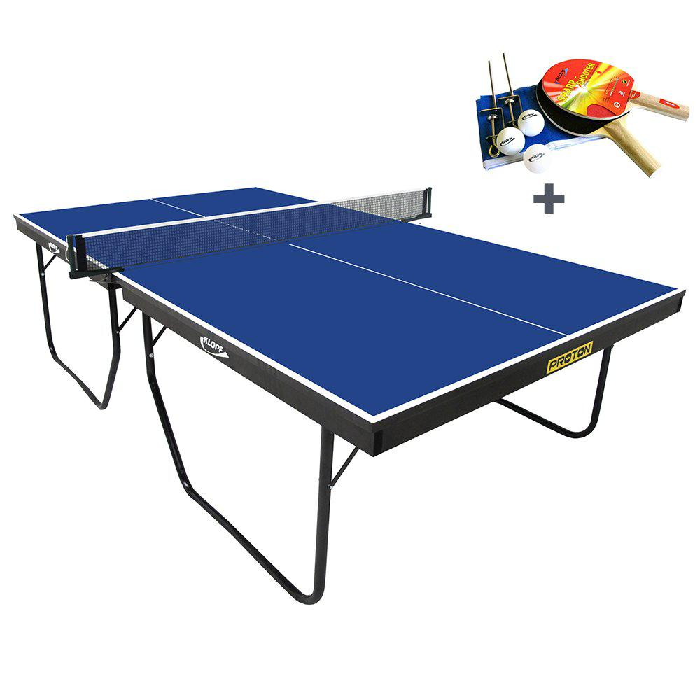 Mesa ping pong oficial klopf proton 25 mm azul kit de raquetes bolinhas e rede ping pong - Mesas de pinpon ...