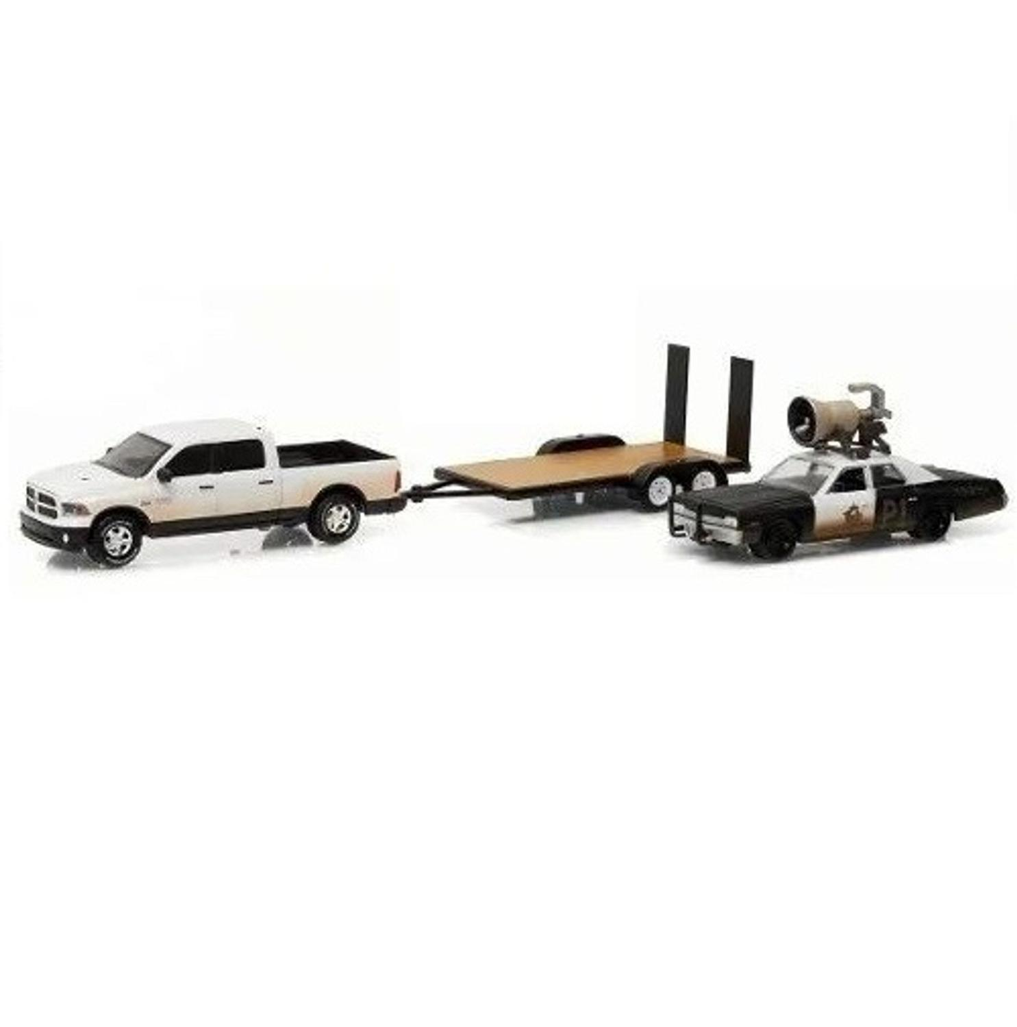 Miniatura Dodge Monaco Bluesmobile 1974 E Ram 1500 2015 Flatbed Trailer 1 64 Greenlight Carrinhos E Cia Magazine Luiza