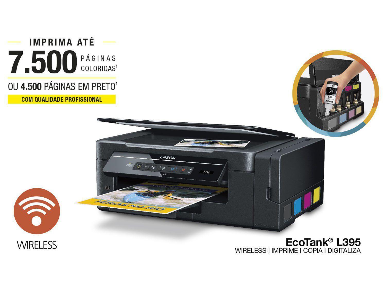 Multifuncional Epson Ecotank L395 Tanque De Tinta Colorida Wi Fi Printer L Series Original Magenta Vdeo Imagem
