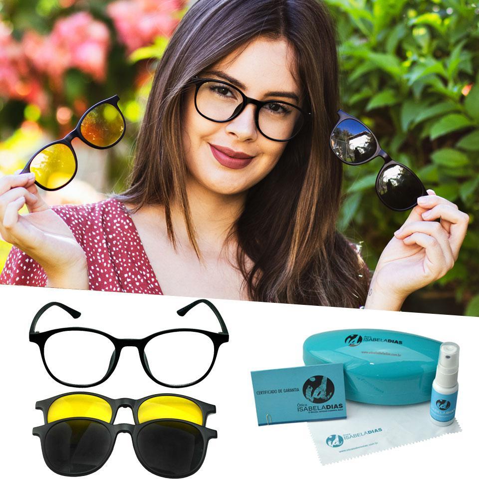 99002b025 Oculos Armação Clipon Feminino Redondo Retro Preto Sol 216 - Isabela dias  R$ 134,49 à vista. Adicionar à sacola