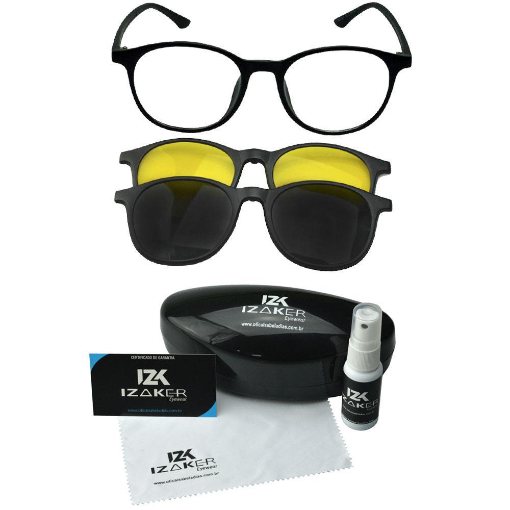 da4b47f8b Oculos Armação Grau Clipon Redondo 2 Sol Lentes Preto 718 - Izaker R$  134,48 à vista. Adicionar à sacola