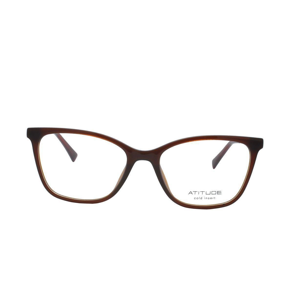 6158416ab Óculos de Grau Atitude Feminino AT6197I T02 - Acetato Marrom Claro R$  244,00 à vista. Adicionar à sacola