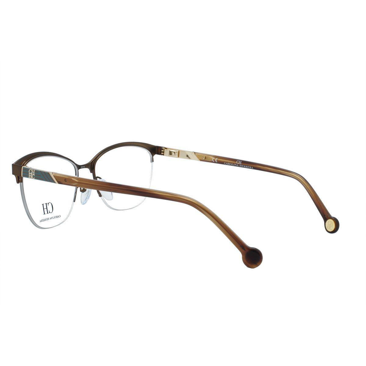 5ff4db8dd4a29 Óculos de Grau Carolina Herrera Fio De Nylon Feminino VHE123 0R10 - Metal  Dourado R  804