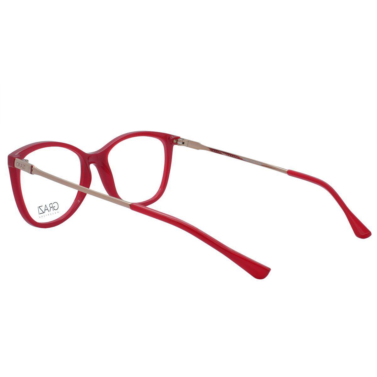 dc4598928dd44 Óculos de Grau Grazi Feminino GZ3033 E808 - Acetato Vermelho e Metal Bronze  - Grazi massafera R  250