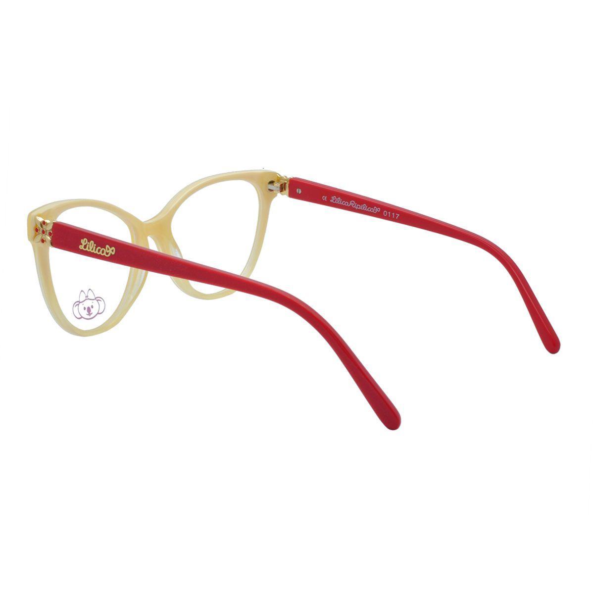 136004a59c2da Óculos de Grau Infantil Lilica Ripilica Feminino VLR083 C3 - Acetato Bege e  Vermelho R  268,00 à vista. Adicionar à sacola
