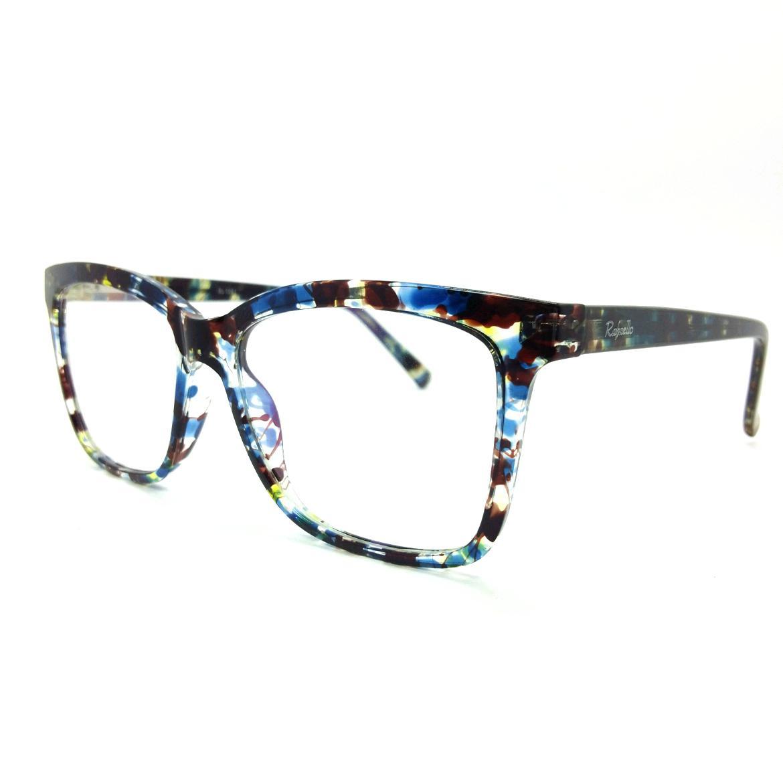 0487678e791a8 Óculos de grau Rafaello RFA034 Acetato Preto Mesclado c  Azul Vermelho e  Amarelo - Armação R  149,00 à vista. Adicionar à sacola