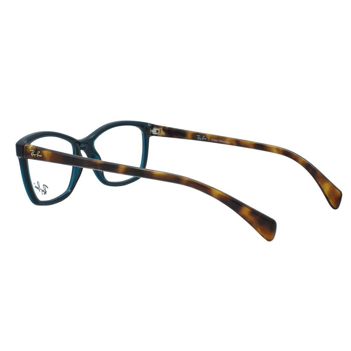 32eccaabb5f01 Óculos de Grau Ray Ban Feminino RX7108L 5704 - Acetato Verde Transparência  com Tartaruga Marrom R  391