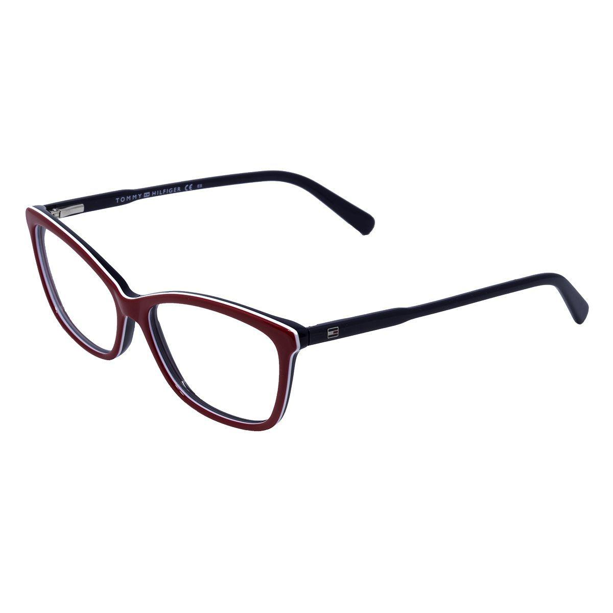 912f2789e Óculos de Grau Tommy Hilfiger Unissex TH1318 CVOY - Acetato Vermelho,  Branco e Azul R$ 405,00 à vista. Adicionar à sacola