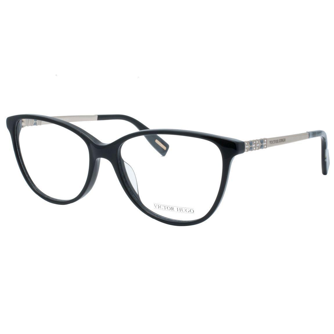 c85b6179f8f3d Óculos de Grau Victor Hugo Feminino VH1773S 0700 - Acetato Preto e Metal  Bronze R  931
