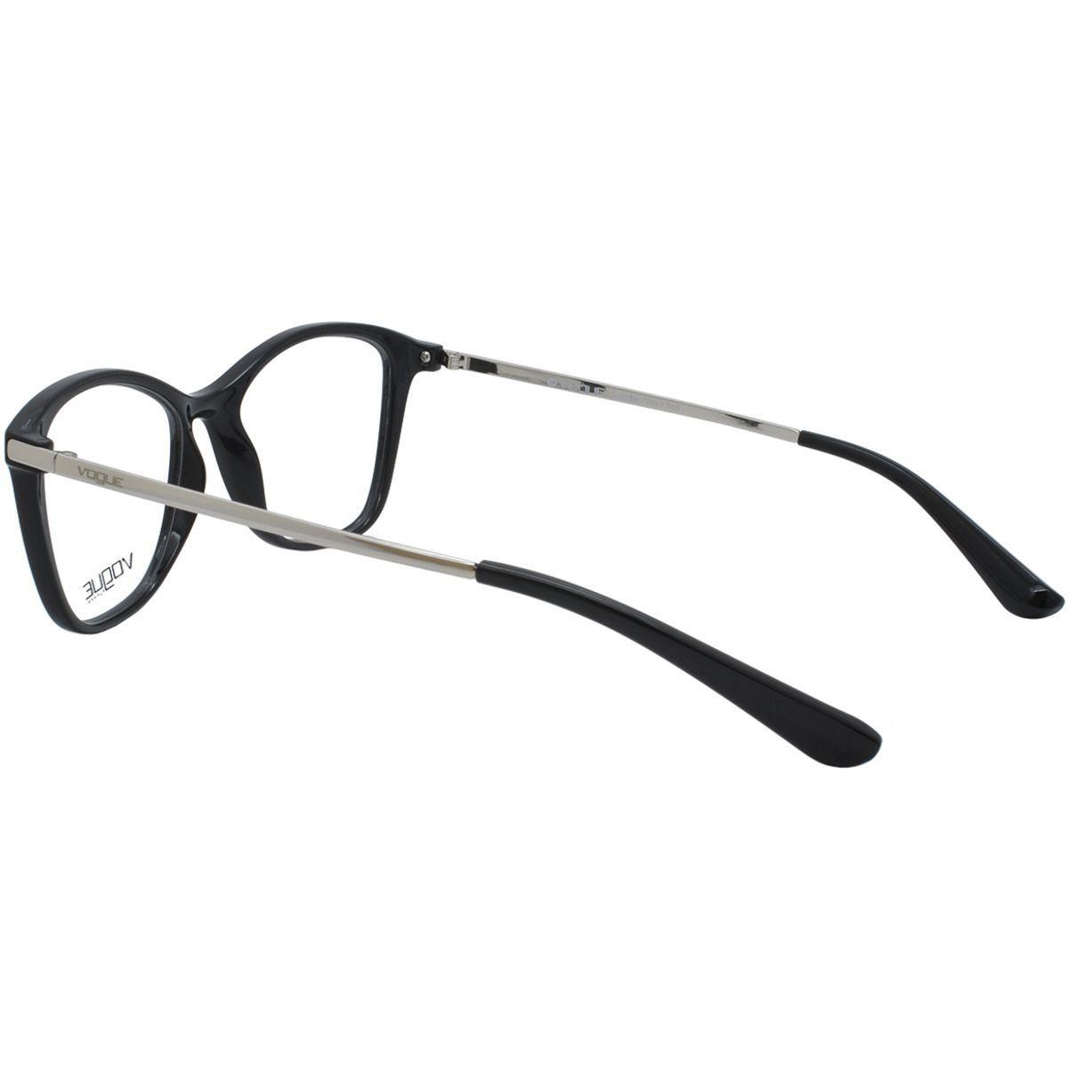 fee8a4a6145a4 Óculos de Grau Vogue Eyewear Feminino VO5152L W44 - Acetato Preto e Metal  Prata R  423