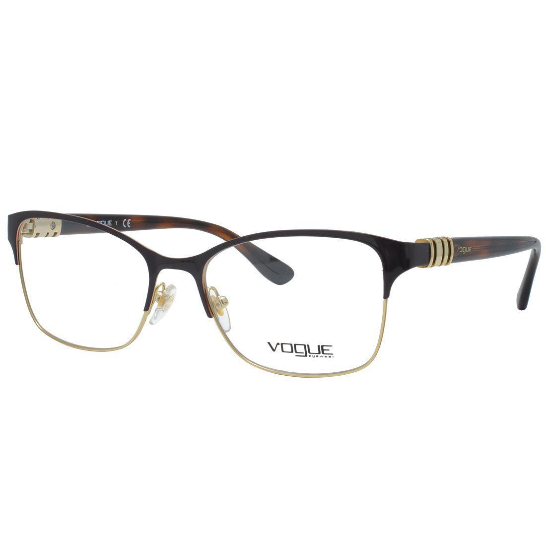 a43571f01 Óculos de Grau Vogue Feminino VO4050 C997 - Metal Dourado e Marrom e Haste  Acetato Marrom R$ 455,00 à vista. Adicionar à sacola
