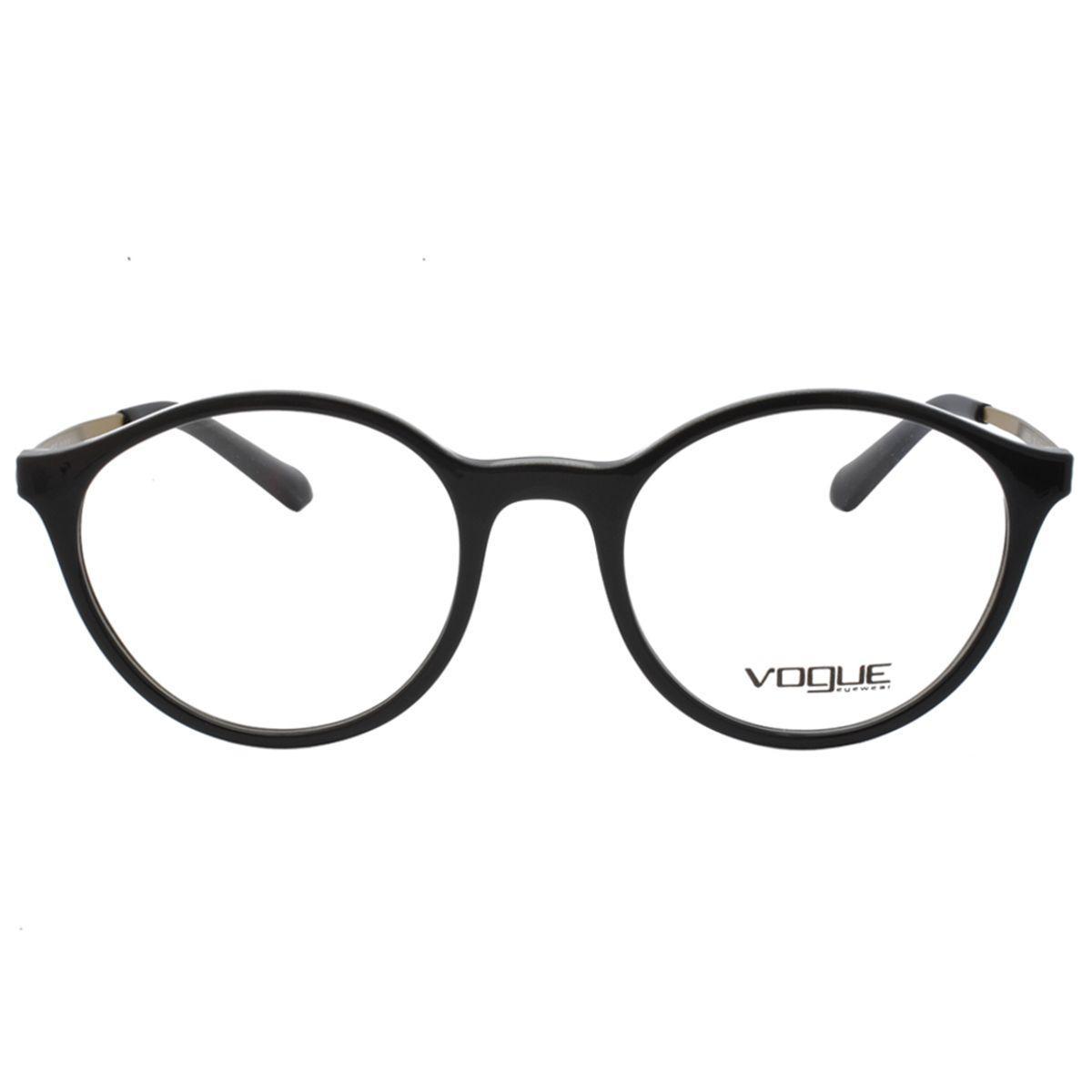 898fea250ec48 Óculos de Grau Vogue Feminino VO5223L 2385 - Acetato Preto e Metal Bronze  R  488