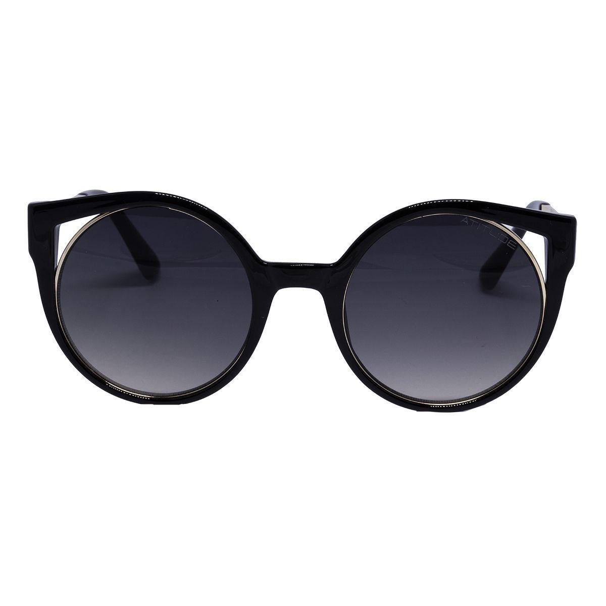 6a2a40228052d Óculos de Sol Atitude Feminino AT5374 - Acetato Preto e Lente Cinza Degradê  Produto não disponível