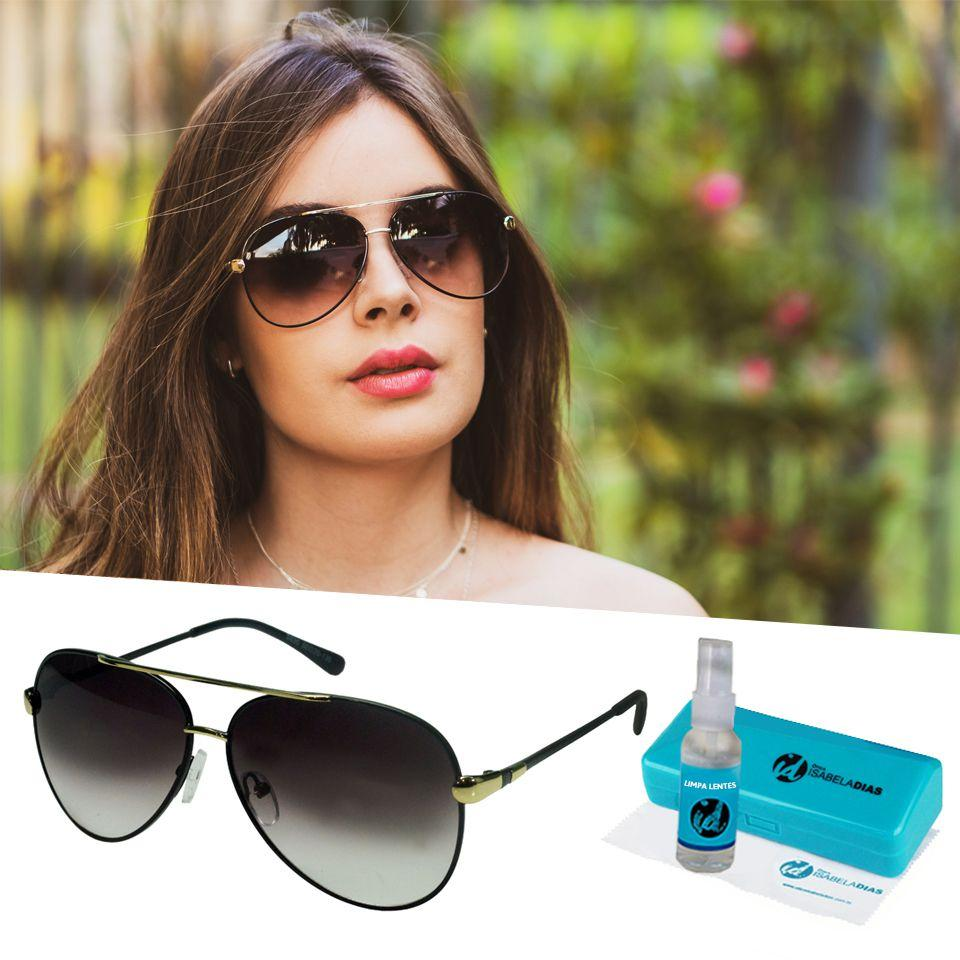 f36cf689a0b76 Oculos De Sol Aviador Dourado Feminino Degrade 203 - Isabela dias R  97