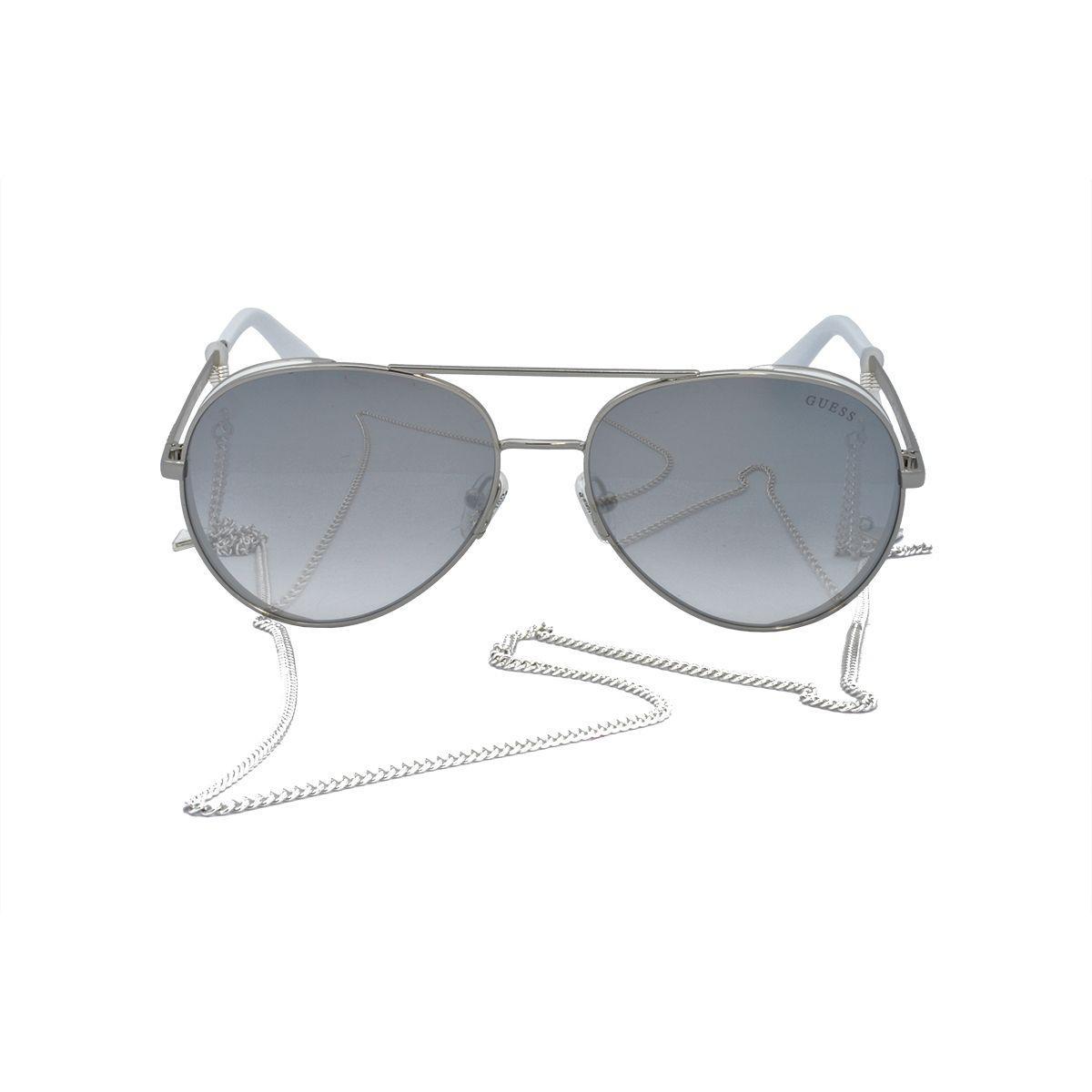 Óculos de Sol Guess Feminino com Corrente GU7607 20C - Metal Prata e Branco  e Lente Prata Espelhado R  579,00 à vista. Adicionar à sacola 698ef44e11