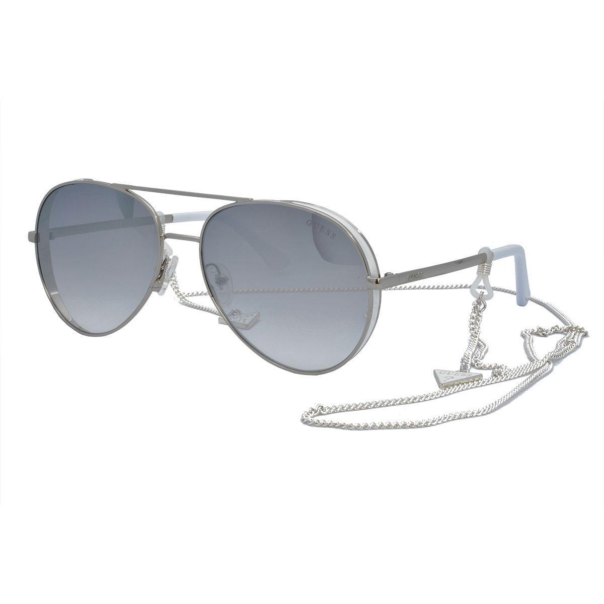 56f52223d Óculos de Sol Guess Feminino com Corrente GU7607 20C - Metal Prata e Branco  e Lente Prata Espelhado Produto não disponível