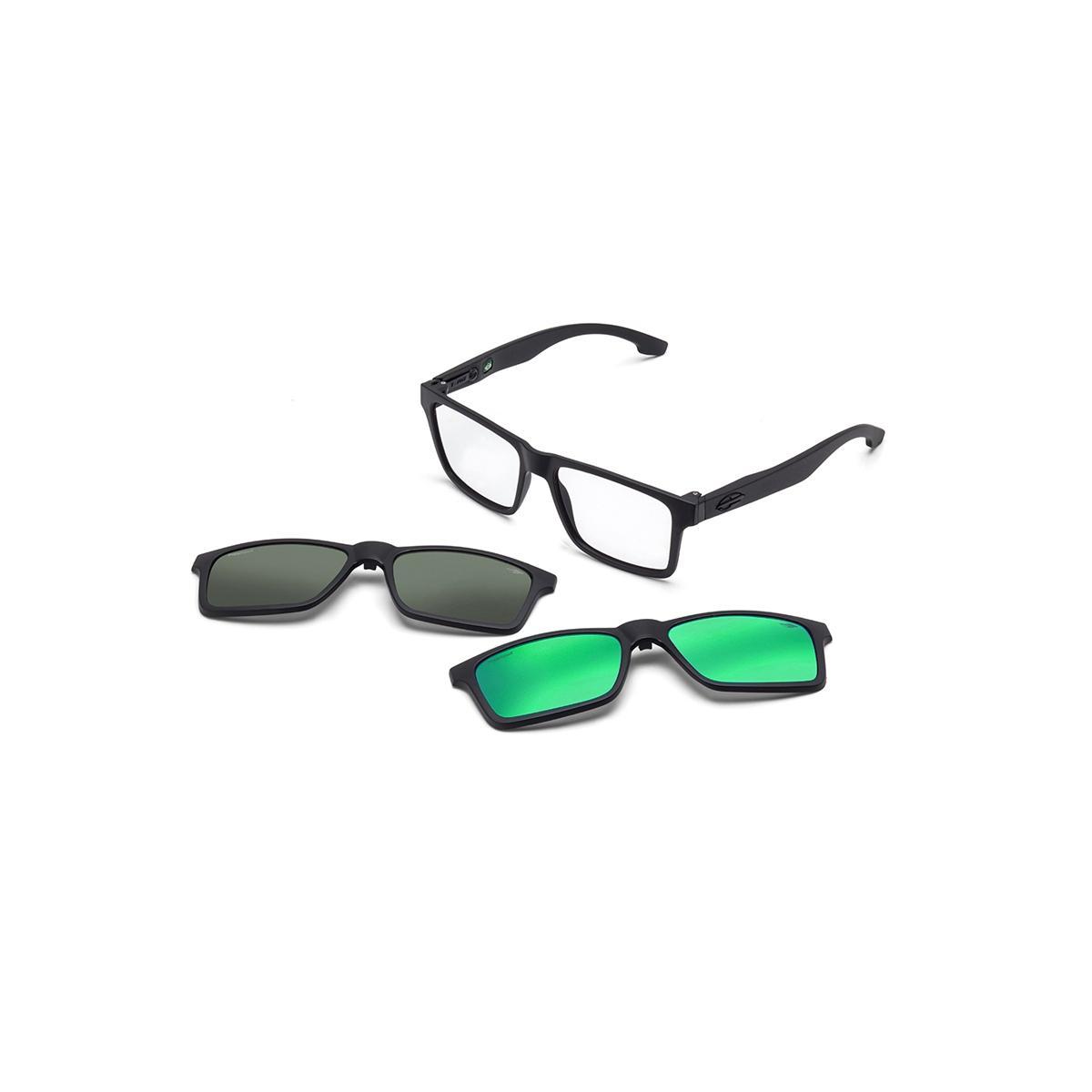 2b458b50f9580 Óculos de Sol Mormaii SWAP M6057 ACE 56 Preto Clip-On Lente Espelhada Verde  Cinza Tam 56 R  369