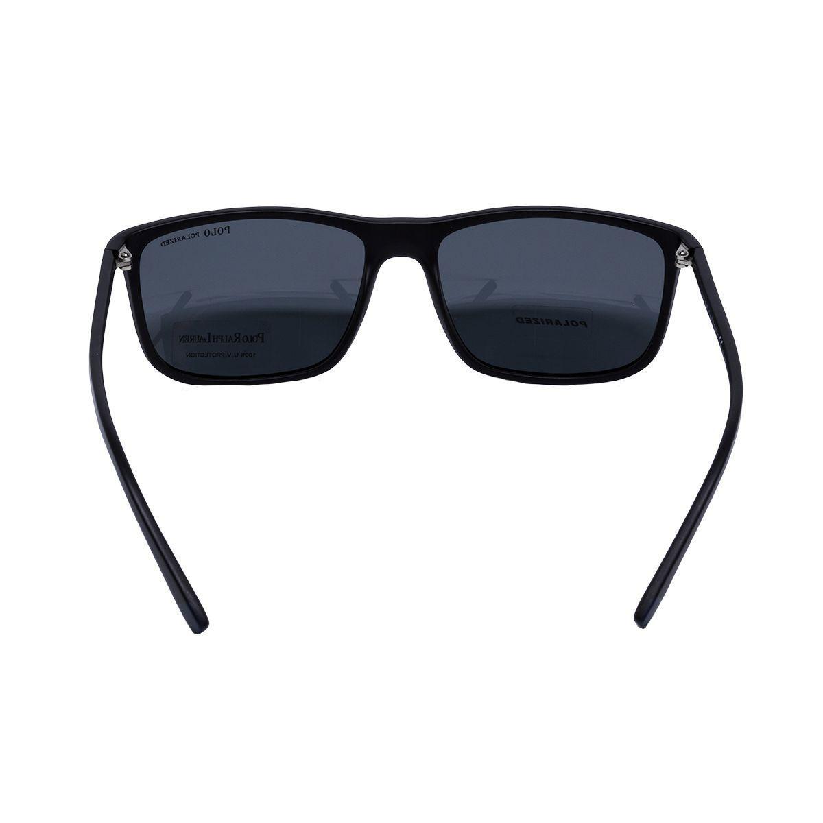9c21b5b83e9f0 Óculos de Sol Polo Ralph Lauren Polarizado PH4115 560881 - Acetato Preto e Lente  Cinza R  654