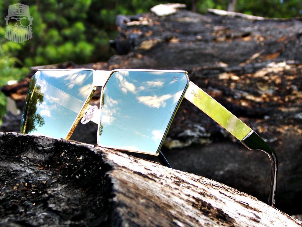 8b719699440b7 Óculos de Sol Quadrado Drop mE Impact Espelhado Dourado - Drop me  acessorios R  229