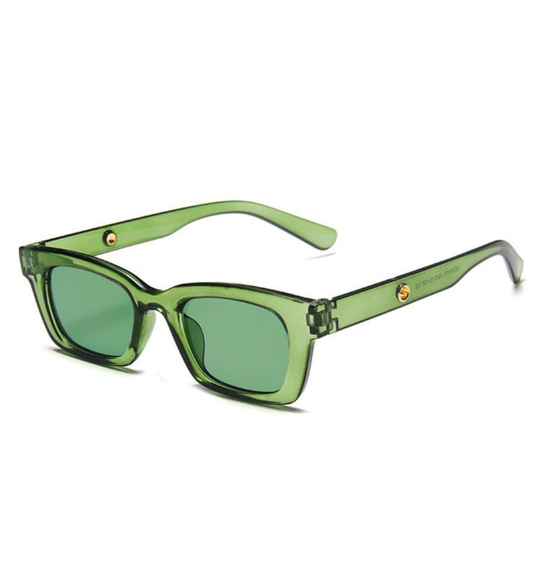 Óculos de Sol Quadrado Retangular Verde Transparente Colorido UV400 - Sunone
