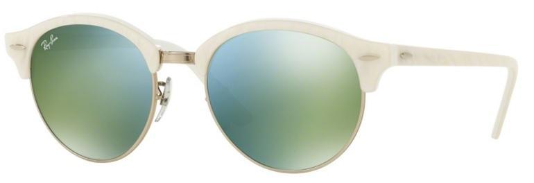 6e70ef294 Óculos de Sol Ray Ban CLUBROUND RB4246 Branco Lente Verde Espelhada - Ray- ban Produto não disponível