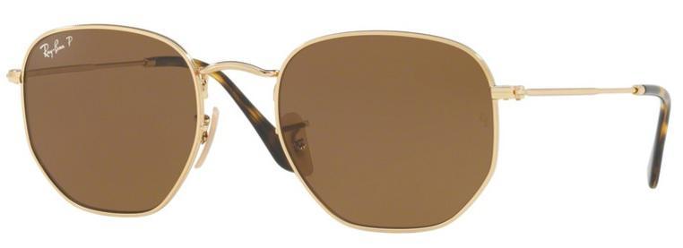 b33b427fab1d9 Óculos de Sol Ray Ban Hexagonal Metal RB3548 Ouro Lente Marrom Flat  Polarizada 51 - Ray-ban R  499