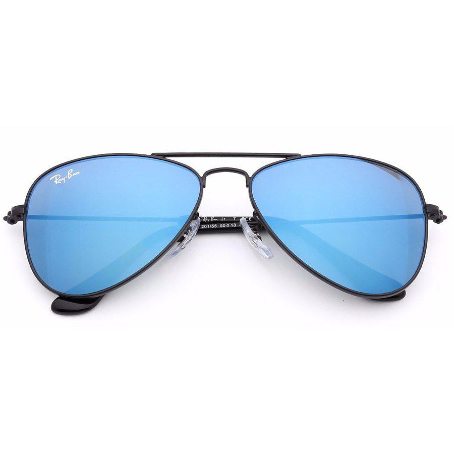 Óculos de Sol Ray Ban Infantil Aviador Preto com Lente Azul Junior - Ray-ban f825b28097
