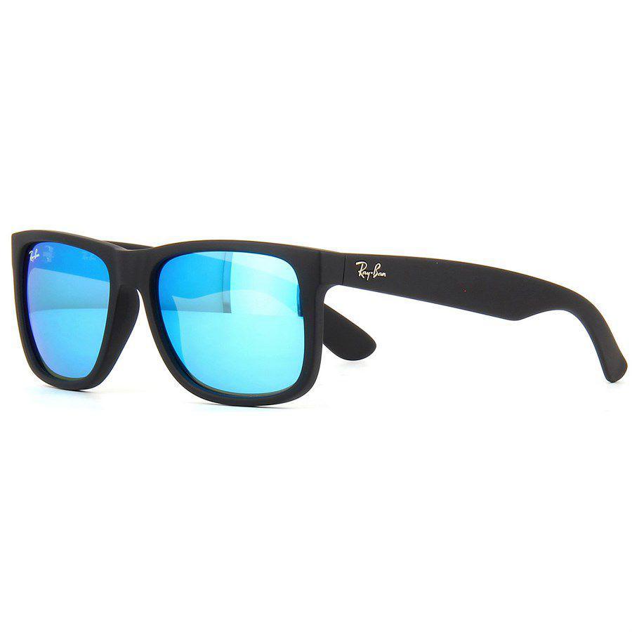 Óculos de Sol Ray Ban Justin Preto Fosco com Lente Azul Espelhada - Ray-ban  - Óculos de Sol - Magazine Luiza 94c84c6224