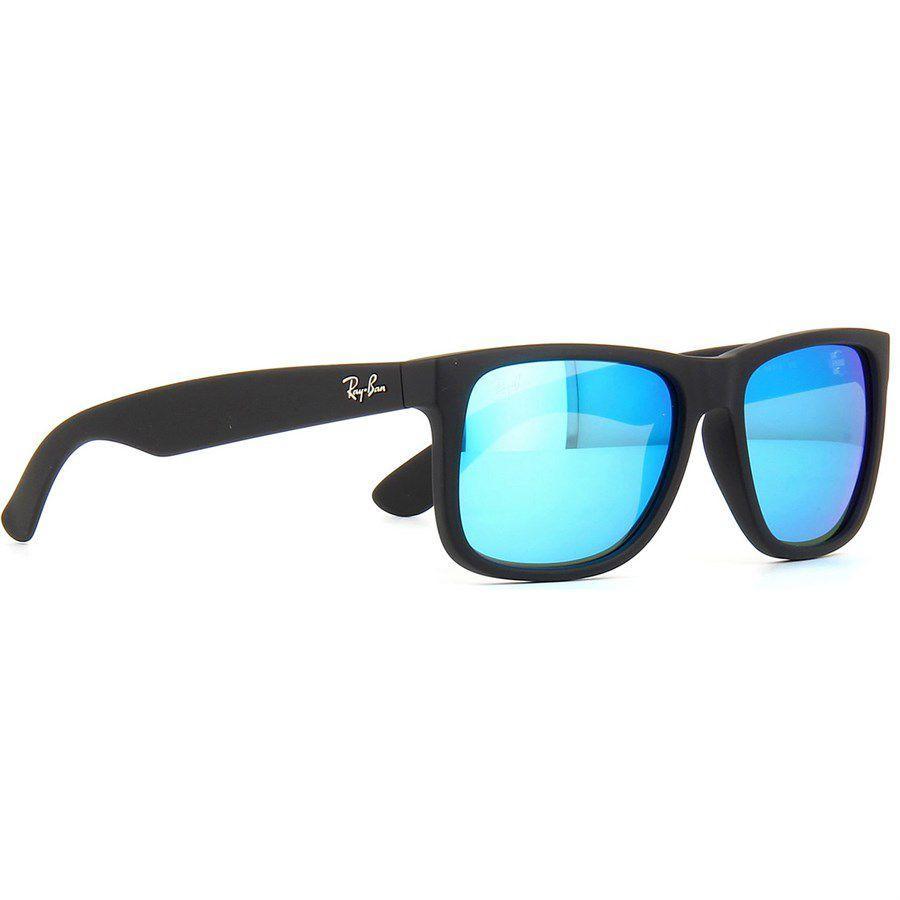Óculos de Sol Ray Ban Justin Preto Fosco com Lente Azul Espelhada - Ray-ban 2c156bf1d4