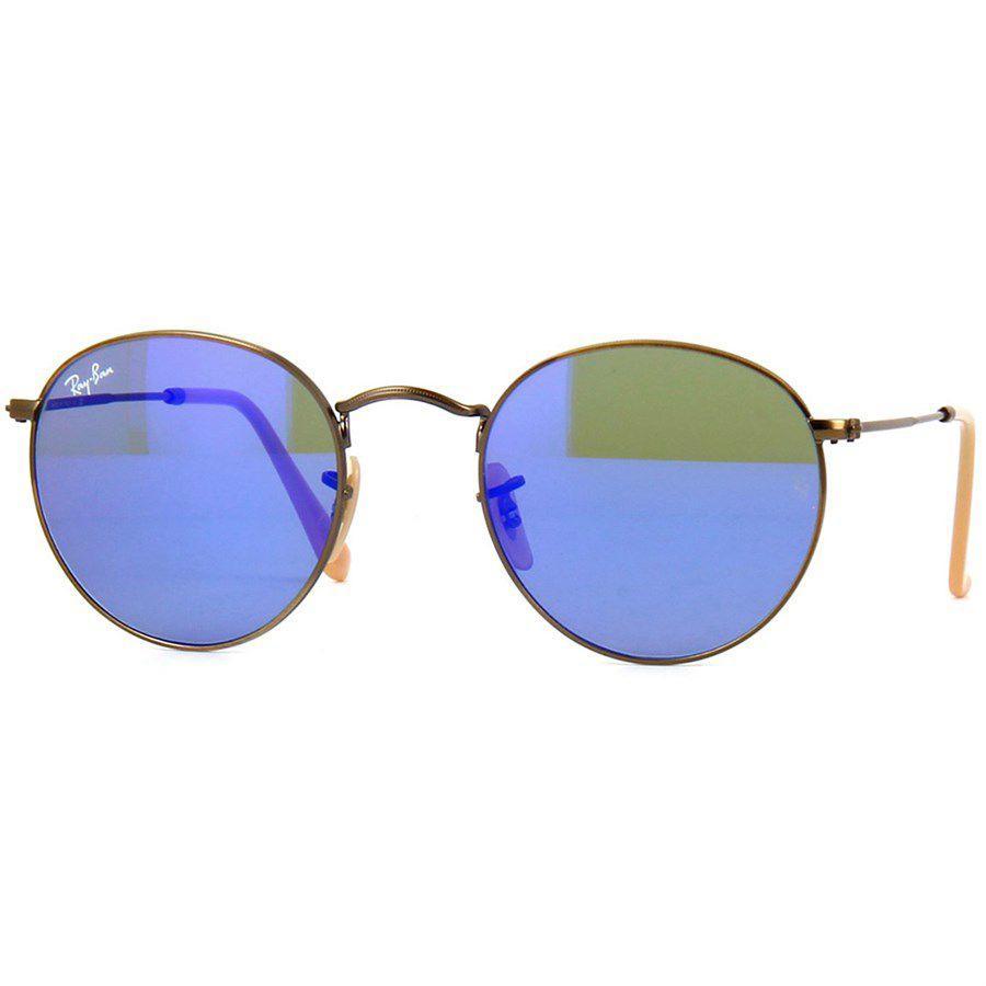 4c76ad6dcc7ae Óculos de Sol Ray Ban Round Bronze com Lente Azul Espelhada - Ray ...