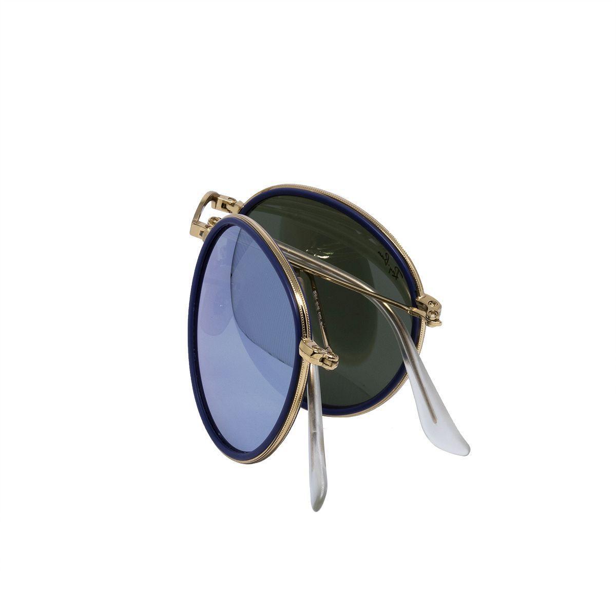 c5970b022 Óculos de Sol Ray Ban Round Gold Dobrável RB3517 - Metal Dourado, Lente Espelhada  Azul Produto não disponível