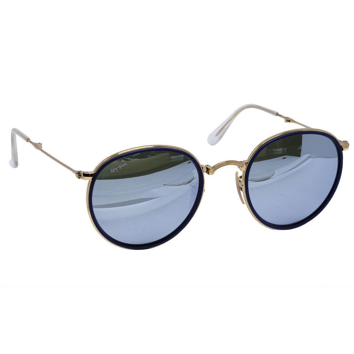 40a33a408 Óculos de Sol Ray Ban Round Gold Dobrável RB3517 - Metal Dourado, Lente  Espelhada Azul Produto não disponível
