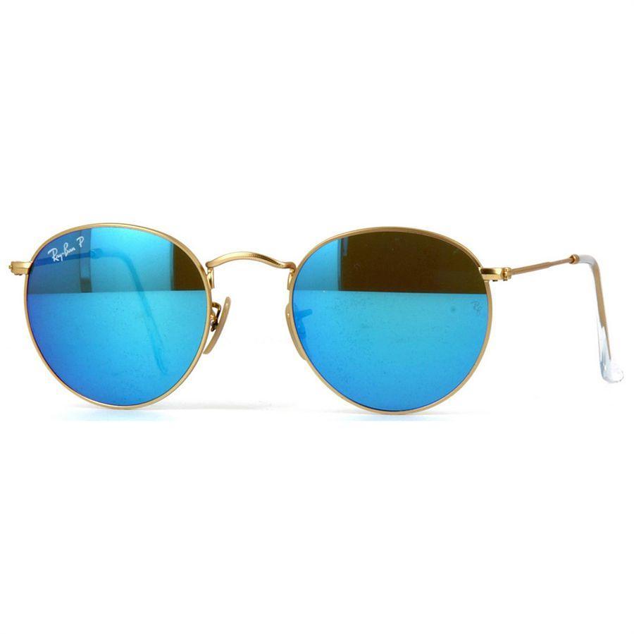c167c35780501 Óculos de Sol Ray Ban Round Metal Dourado Polarizado Lentes Azul Espelhado  - Ray-Ban - Óculos de Sol - Magazine Luiza