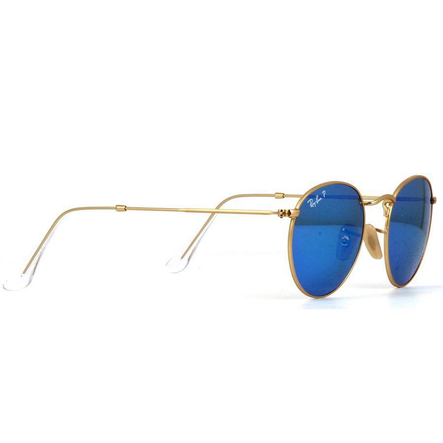 719a55c21e8fb Óculos de Sol Ray Ban Round Metal Dourado Polarizado Lentes Azul Espelhado  - Ray-Ban Produto não disponível