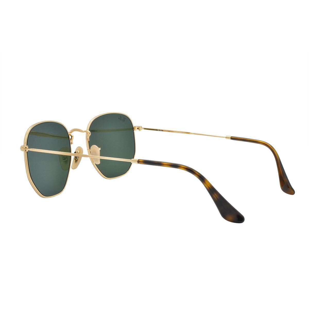 ee9da1ad8619e Óculos de Sol Ray Ban Unissex Hexagonal RB3548N 001 54 - Metal Dourado R   532