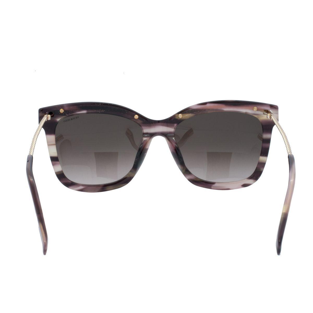 86d2611306990 Óculos de Sol Victor Hugo Feminino SH1774 0D00 - Acetato Marrom Mescla e Lente  Marrom Degradê R  983