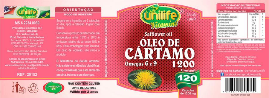 617f768ef Óleo De Cártamo Unilife 120 Capsulas 1200mg - Óleo de Cartamo ...