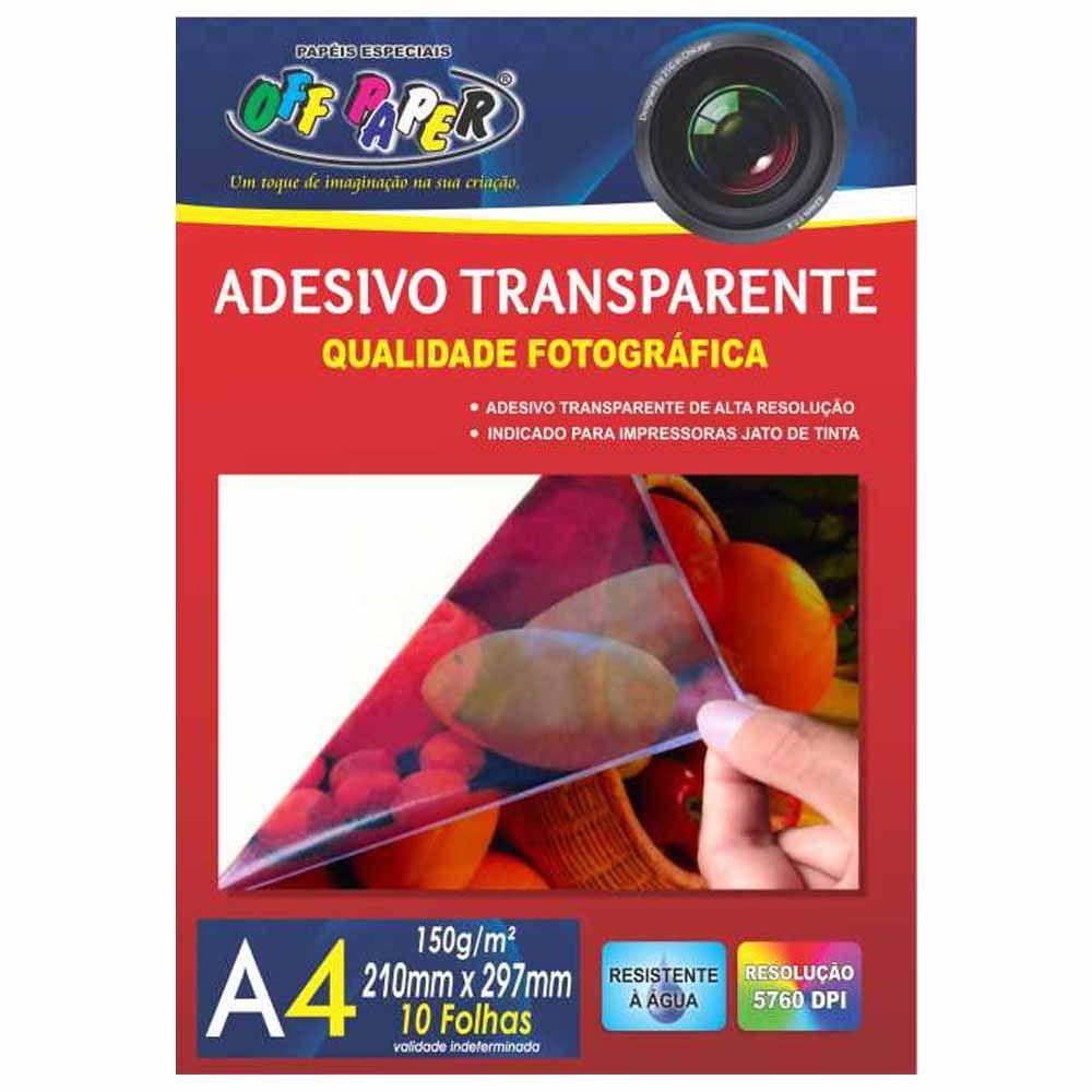 Papel Adesivo A4 Transparente 150g Off Paper 10 Folhas Papéis Magazine Luiza