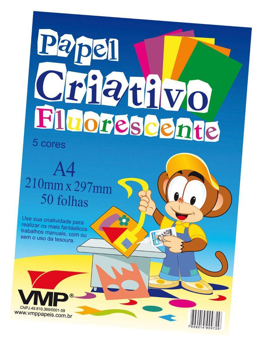 Papel Criativo Fluorescente A4 50 Folhas Vmp - Papéis - Magazine Luiza
