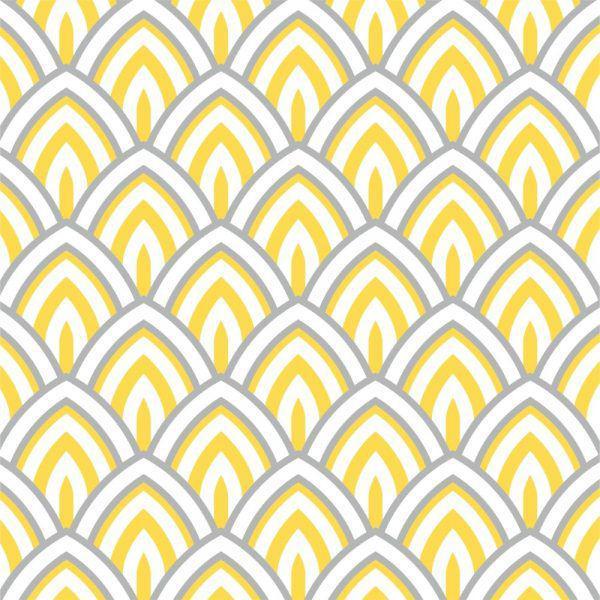 f06a8ded1 Papel de Parede Adesivo Geométrico Amarelo e Cinza - Stickdecor R  129