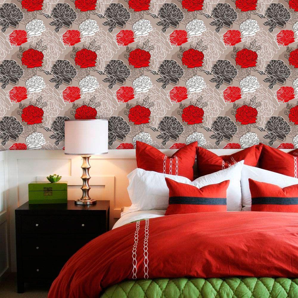 Papel De Parede Adesivo Lavável F0134 Floral Rosa Vermelha E Branca Final Decor