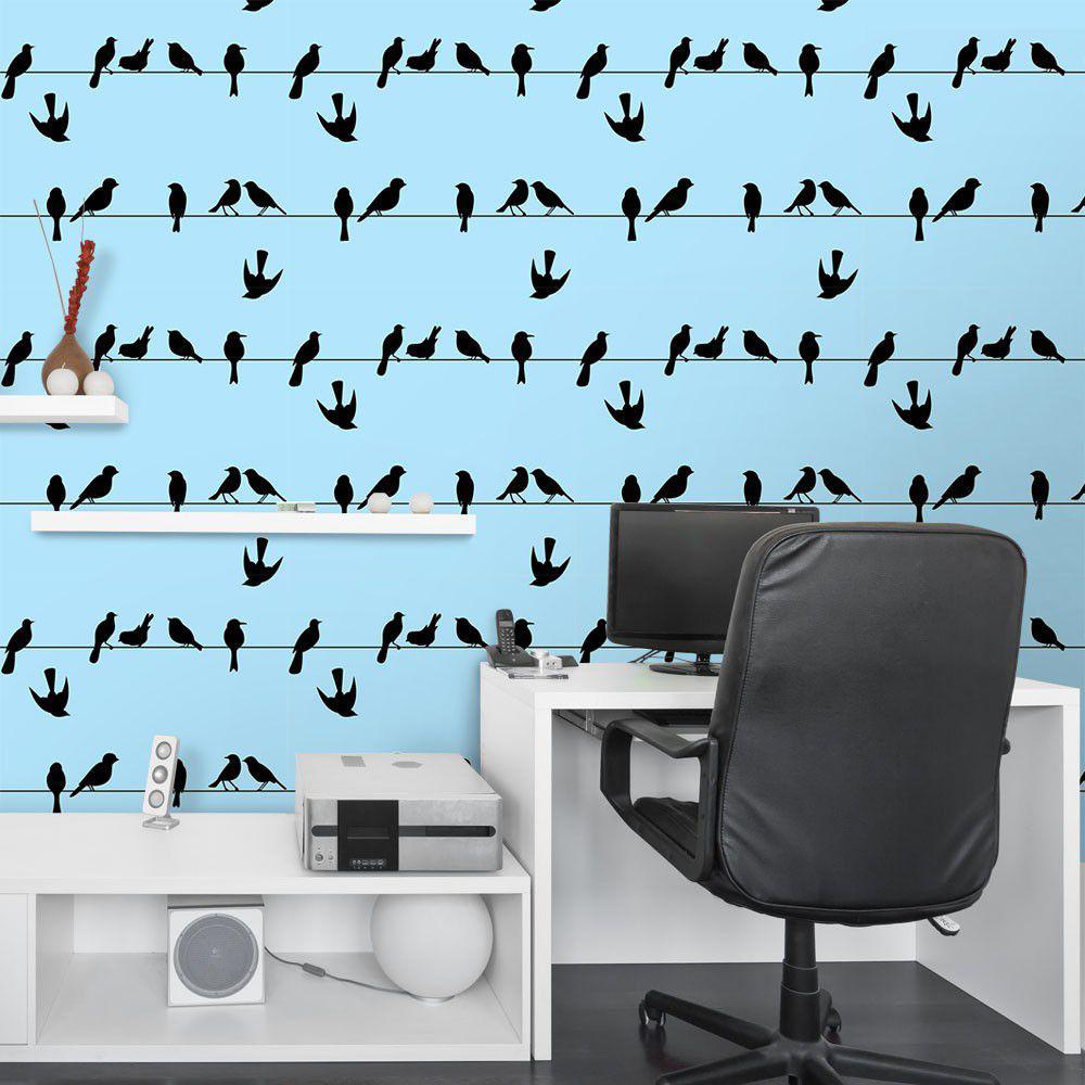 274540337124c Papel de Parede Pássaros no Fio - Qcola R$ 89,90 à vista. Adicionar à sacola