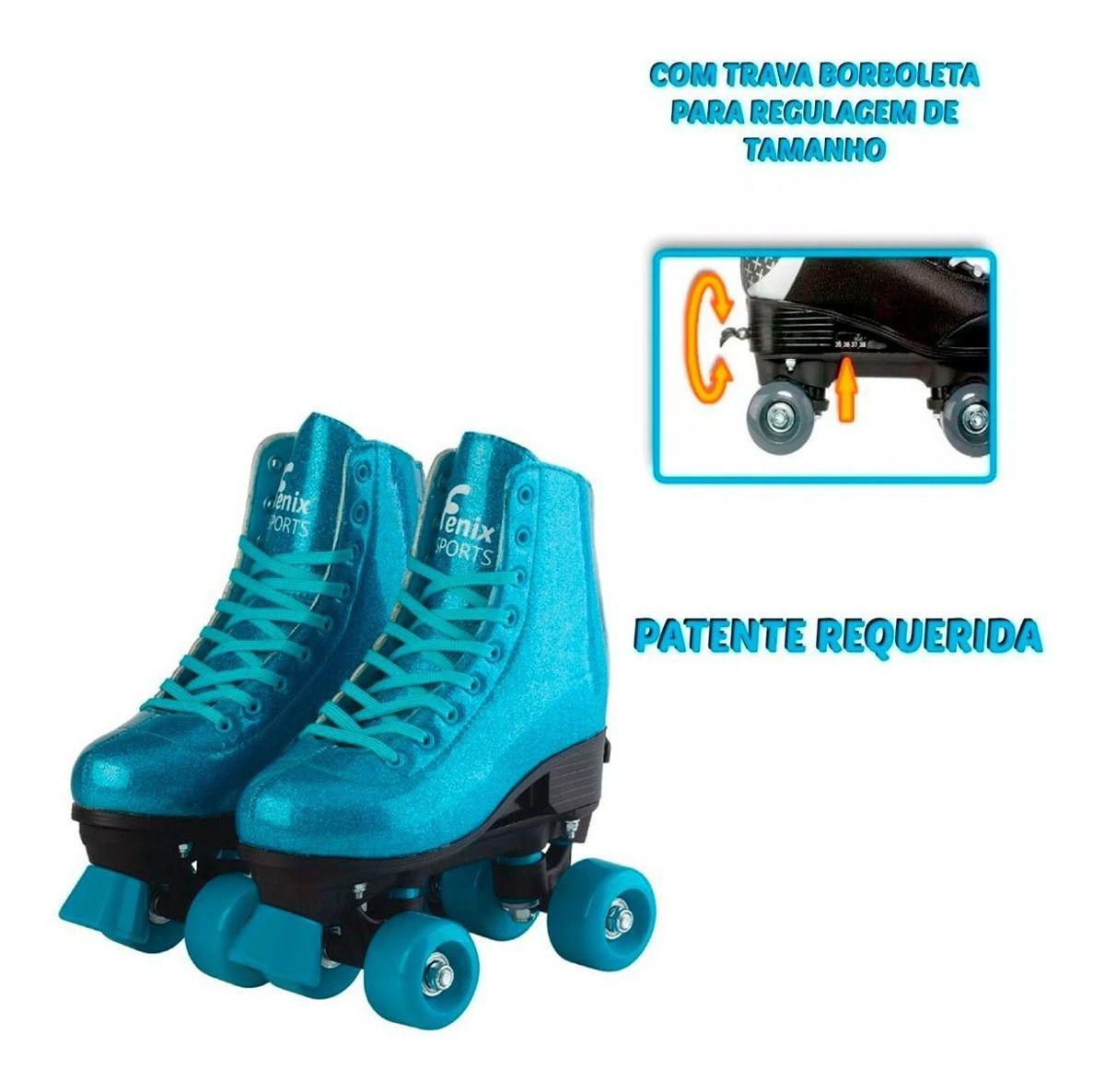 Patins Roller Fenix Retrô Azul 4 Glitter 35 ao Rodas Skate 38 3LAjc5R4qS