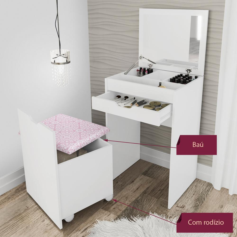 Penteadeira compacta com espelho e puff branco e rosa 408 for Mobili quarto