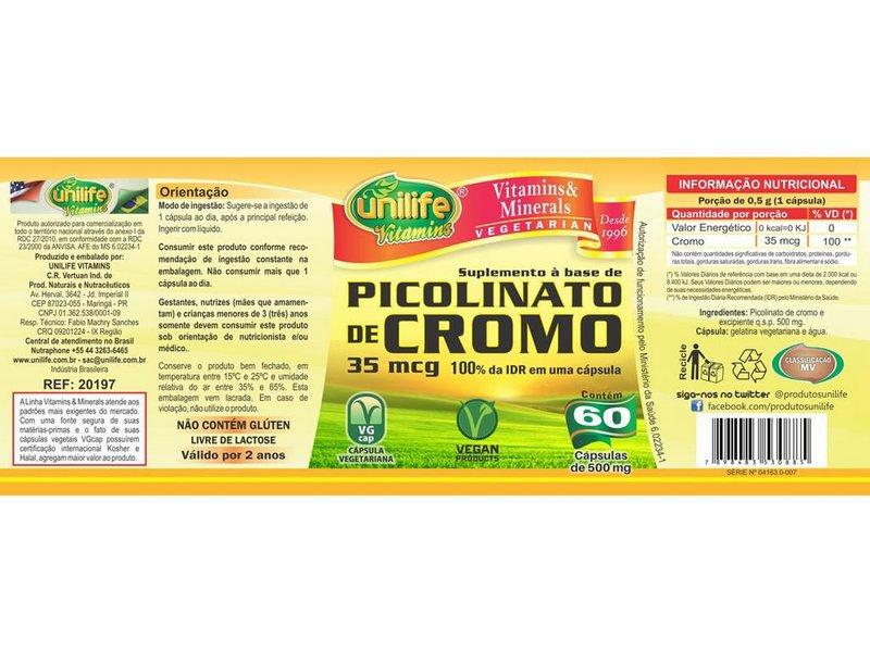 c20a09696 Picolinato de Cromo 60 cápsulas Unilife - Picolinato de Cromo ...