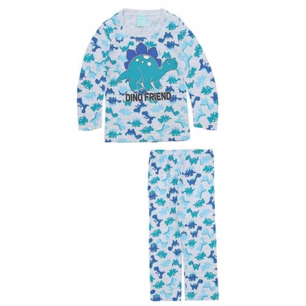 4a023f6bba899e Pijama Infantil Menino Manga longa Cinza Dinossauro kyly