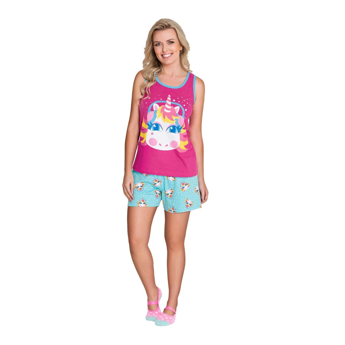 0756e9225a Pijama regata com short adulto - unicórnio - Veggi - Roupão Adulto ...