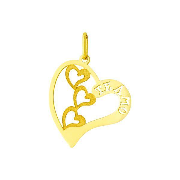 57f3c82e0ef11 Pingente de Ouro 18k Coração Vazado Nome Te Amo pi17046 - Joiasgold R   332