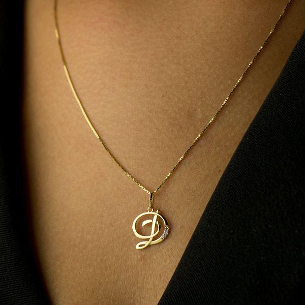 Pingente de Ouro 18k Letra D com diamantes pi16528 - Joiasgold R  492,03 à  vista. Adicionar à sacola 7342c8089d