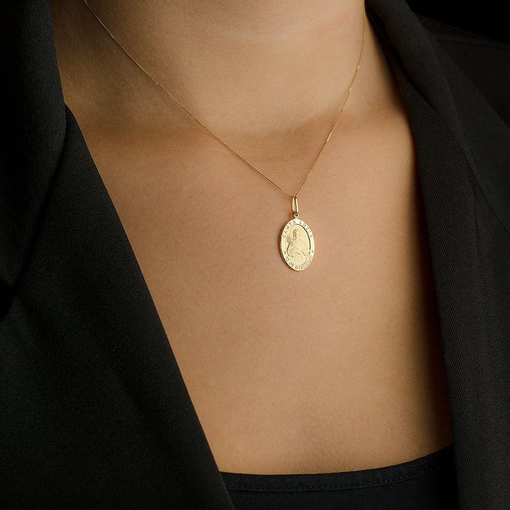 Pingente de Ouro 18k Medalha com Imagem de Santa Luzia Média pi14475 - Joiasgold  R  620,24 à vista. Adicionar à sacola 0fbd728bfa
